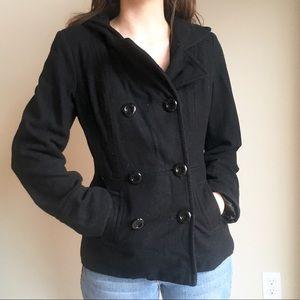 Giacca black wool pea coat jacket